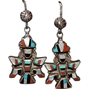 Vintage Zuni Knifewing Man Earrings