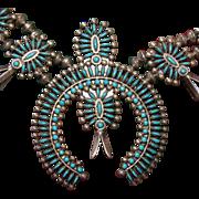 Vintage Zuni Needle Point Squash Blossom Necklace