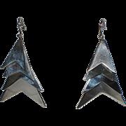 REDUCED Mid Century Modern Taxco Chevron Sterling Silver Chandelier Earrings