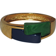 SALE PENDING RARE Trifari 1960's Modernist Deco Resin Bangle Bracelet