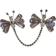 Butterfly Alexandrite Rhinestone Scatter Duette Sweater Chain Pins