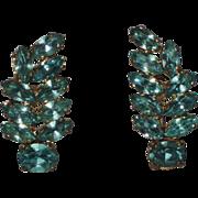 REDUCED Czech 1940's Aqua Rhinestone Leaf Cluster Earrings