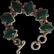 Mid Century Modern Chrysoprase Glass Link Bracelet