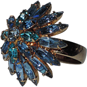 REDUCED RARE ~ Napier 1960's Tiered Sapphire-Aqua Blue Rhinestone Cocktail Ring