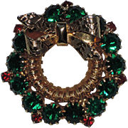 Rhinestone Christmas Wreath Pin