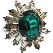 REDUCED Napier Emerald and Rhinestone Baguette Cocktail Ring ~ Size 7