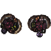 SALE Vendome 1950's 3D Floral Space Age Earrings ~ Magazine Ad Piece