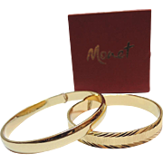 SALE Monet 1970's Pair of Bangle Bracelets ~ Mint in Box