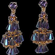 SALE Hattie Carnegie Purple Crystal Chandelier Earrings