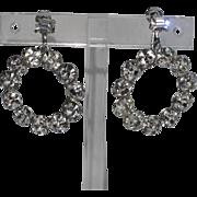 Weiss 1960's Clear Rhinestone Hoop Earrings
