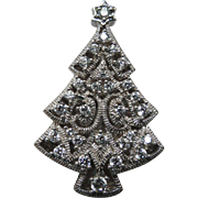 SALE Gorham Sterling Silver & REAL Diamonds Christmas Tree Pin ~ SUPER Rare
