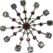 SALE PENDING Kramer Sterling Mid Century Atomic Crystal Brooch ~ VERY RARE