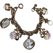 SALE PENDING Accessocraft N.Y.C. 1960's Clear Glass & Crystal Charm Bracelet