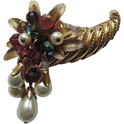 REDUCED RARE Napier 1960's Cornucopia Brooch, Book Piece