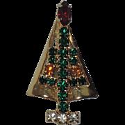 SALE PENDING Hobe Petite Rhinestone Christmas Tree Pin ~ Book Piece