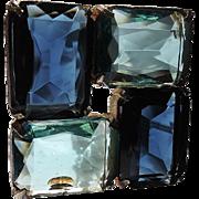 SALE PENDING RARE Cadoro Sapphire Colored & Aqua Blue Glass Square Brooch ~ Book Piece