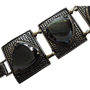 SALE 1960's Chunky Black Glass Triangle Panel Bracelet