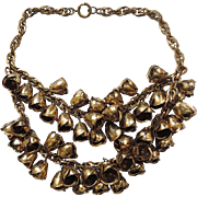 REDUCED EARLY Miriam Haskell Double Strand Brass Rosebud 3D Necklace
