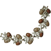 SALE Coro 1950's Acorn Thermoset Whitewashed Bracelet