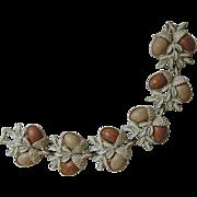 SALE Coro 1950's Acorn Thermoset Whitewashed Bracelet