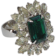 REDUCED Napier 1950's Emerald Rhinestone Cocktail Ring ~ Adjustable Size