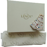 SALE Lenox Porcelain Christmas Tree Pin ~ Mint in Box ~ Book Piece