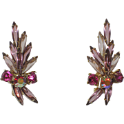 SALE Juliana Delizza & Elster Purple Glass Navette & Rhinestone Spray Earrings