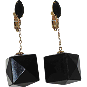 1960's Black 3D Cube Pyramid Cut Drop Earrings