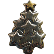 SALE Far Fetched 1980's Sterling Silver & Brass Star Christmas Tree Pin