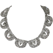 REDUCED Kramer of New York 1955 Diamond Look 3D Rhinestone Loop Necklace, Magazine Ad Piece