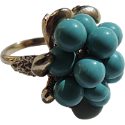 REDUCED RARE Boucher 1964 Turquoise Cluster Cocktail Ring ~ Adjustable