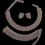 SALE Coro Mid Century Modern Purple Boomerang Demi Parure ~ Pristine