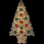 SALE SCARCE DeNicola Signed Glass Cabochon Christmas Tree Pin ~ Book Piece