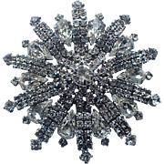 REDUCED Weiss 3D 1960's Snowflake Fireworks Rhinestone Brooch