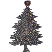 SALE PENDING Garnet Heart Topper Sterling Silver Marcasite Christmas Tree Pin