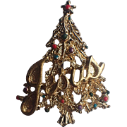 RARE Jesus Word Christmas Tree Pin ~ Book Piece