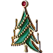 REDUCED VERY RARE Plique a Jour Mid-Century Modern Christmas Tree Pin
