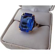SOLD Vendome 1969 Sapphire Blue Glass Cocktail Ring ~ Magazine Ad Piece