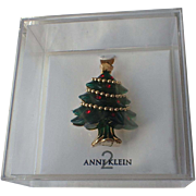SALE Anne Klein 2 Designer Christmas Tree Pin in Original Box ~ Book Piece