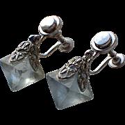 SALE PENDING Art Deco Raw Fluorite Octahedron Crystal Earrings