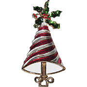 REDUCED RARE Mylu Peppermint Stripe & Holly Christmas Tree Pin ~ Book Piece