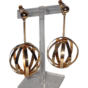 REDUCED Vendome 1960's Chrome Sphere Cage Huge Drop Earrings ~ Worn by Twiggy