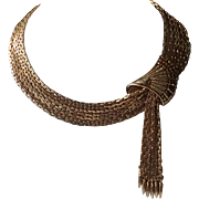 SALE SCARCE Vendome 1960's Runway Couture Gold Plated Fan and Tassels Necklace