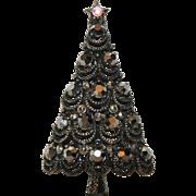 SALE RARE Pakula Japanned Gunmetal Hematite 3D Christmas Tree Pin ~ Book Piece