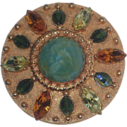 SALE Accessocraft N.Y.C. 1960's Art Glass, Rhinestone, Crystal Medallion Pin/Pendant