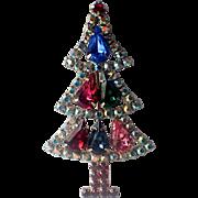 SALE Hobé Tear Drop Aurora Borealis Sparkle Vintage 80's Christmas Tree Pin
