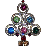 REDUCED Mid-Century Channel Set Rhinestone Circle Christmas Tree Pin, Book Piece