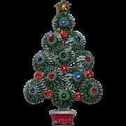 SALE Hedy Starburst Snow-y Enameled Rhinestone Christmas Tree Pin, Book Piece