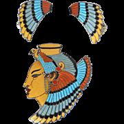 Margot De Taxco Cleopatra Sterling Silver Champleve Enamel Pin-Pendant,Earrings, Book Piece