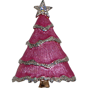 SOLD RARE Liz Claiborne Pink Snow Frosted Christmas Tree Pin, Book Piece